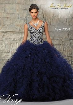 Style LYZVE  RUFFLED TULLE SKIRT WITH CONTRASTING EMBROIDERED & BEADED BODICE. Matching Bolero. Available in Stiletto/Gold, Navy/Silver, Coral/Gold  Precio: $2.638.350 Pesos Colombianos  Precio: $ 1.199.00 Dólares Americanos