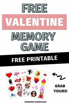 free printable valentine memory game for kids Valentines Games, Valentines Day Activities, Memory Games For Kids, The Game Is Over, Valentine's Day Printables, Printable Valentine, Valentine's Day Diy, Matching Games, Holiday Fun