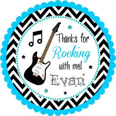 Rock Star Stickers, Guitar Stickers, Guitar Personalized Stickers or Tags, Rockstar Birthday Party - Set of 12 from The Paper Kingdom Rockstar Birthday, 40th Birthday, Guitar Stickers, Royal Party, Rock Star Party, Disco Party, Personalized Stickers, Handmade Birthday Cards, Baby Shower Parties