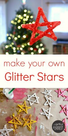 DIY Glitter Stars Christmas Craft--the boys would have fun with this.
