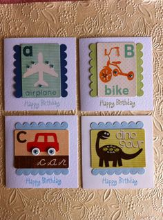 OSONiA Designs.  IDEA:  Spell out name of bday boy in a mini book.