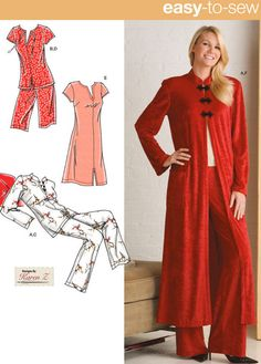 Plus Size LOUNGE & SLEEPWEAR Sewing Pattern - Nightgown Robe Pajamas Loungewear