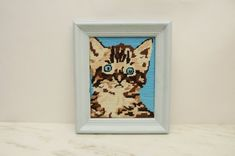 Tabby Cat Kitten Frame Needlepoint Adorable addition to any decor. Perfect for cat lover, nursery or little girls room. Approx size: 11 x 13 with frame Little Girl Rooms, Little Girls, Needlepoint Kits, Baby Blue, Cats And Kittens, Cat Lovers, Nursery, Frame, Lounge