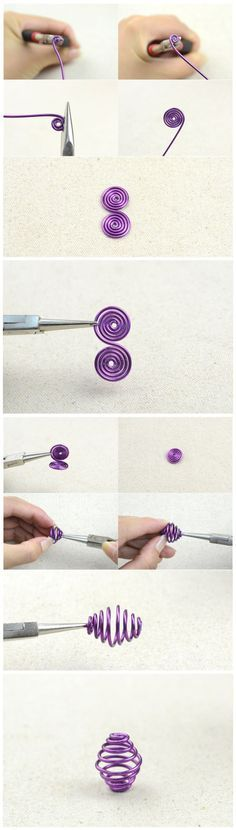 Make a Spiral Coil - Fils alu : http://www.creactivites.com/135-accessoires-creatifs-fil-aluminium