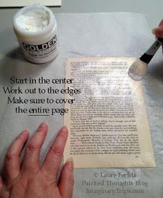 Prepping old pages to watercolor on. Found on paintedthoughtsblog.blogspot.com Simple Pleasures Rubber Stamps and Scrapbooking.