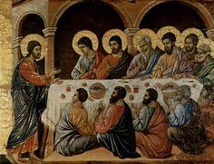 Duccio di Buoninsegna: Maestà, Altarretabel des Sieneser Doms, Rückseite, Altarbekrönung mit Pfingstzyklus, Szene: Erscheinung Christi bei dem Abendmahl der Apostel