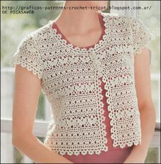 If you are good at crocheting then in no way you can miss the chance to grab these 20 simple crochet shrug designs. The designs and patterns of these crochet Débardeurs Au Crochet, Crochet Bolero Pattern, Shrug Pattern, Crochet Coat, Crochet Jacket, Crochet Clothes, Easy Crochet, Crochet Patterns, Crochet Fabric
