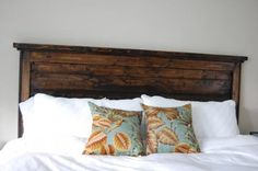 diy headboard!  love the dark wood and white linens...