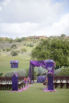 gorgeous purple wedding ceremony decor  ~  we ❤ this! moncheribridals.com  #weddingaisledecorations