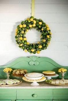 Decoracion de boda: Mesa de dulces en color mint y limones. Es el color de moda!!!