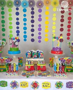 Rainbow Inside Out birthday party! See more party planning ideas at CatchMyParty.com!