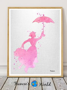 Mary Poppins Watercolor Art Mary Poppins inspired Watercolor