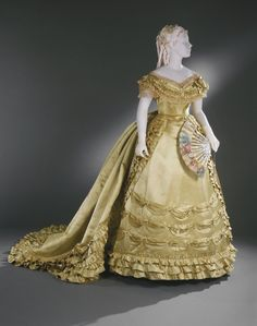 fripperiesandfobs:  Worth evening dress ca. 1867-70 From the...