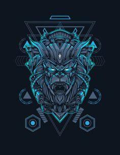 Mecha Gorilla Sacred Geometry Vector Illustration - EPS, AI Sacred Geometry, Vector Graphics, Digital Prints, Template, Illustration, Design, Fingerprints, Illustrations, Design Comics