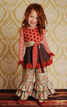 SQUEE!! Loving the double ruffle, wide legged pants!