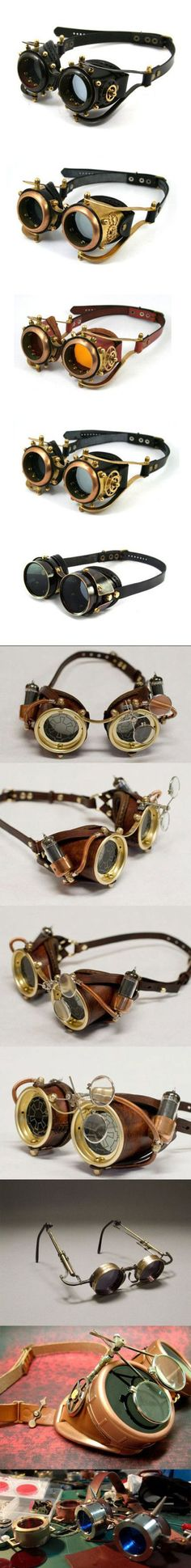 Examples of steampunk goggles and decorations