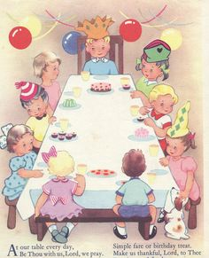 An  illustration of a boy's birthday party taken from a 1950s children's book or prayers.