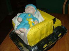 trucks baby shower   Tonka Dump Truck Baby Shower Cake — Baby Shower