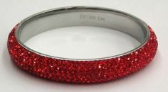 Pave Crystal Stainless Steel Slip-on Bangle with a Glittery Shine