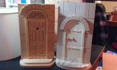 "chasingidentity: "" I bought unfinished wood book ends today at Hobby Lobby to decorate. Wood Bookends, Alternative Christmas Tree, Dyi Crafts, Unfinished Wood, Fairy Houses, Wooden Doors, Sunny Days, Creative, Projects"