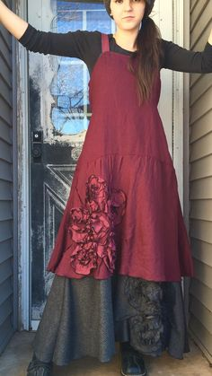 Lightweight dark berry linen in a Bias Flower Dress. Flower is made in a slightly lighter color- my cherry I use often. Bias flounce bottom.