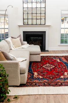 Use our Hamedan Persian rug to create a stunning living room decor! Living Room Carpet, Living Room Modern, Rugs In Living Room, Living Room Decor, Room Rugs, Red Persian Rug Living Room, Area Rugs, Persian Decor, Brown Leather Couch Living Room