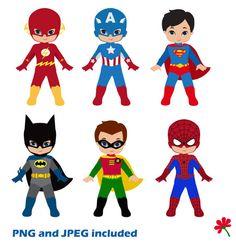 Boy Superhero Clip Art / Little Boys Superheroes / Superboys Digital Clipart / Cute Super hero Boys Clipart for commercial use