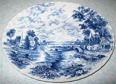 14in wide. Vintage Staffordshire Large Serving Platter Bluebrook England Ironstone Blue 1960s discontinued