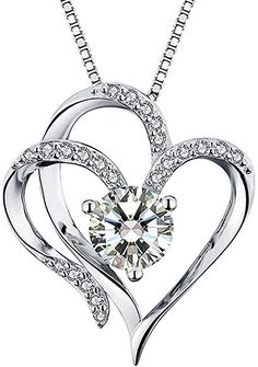 Heart Necklace White Gold Plated Cubic Zirconia Pendant Necklaces for women: Jewelry Gold Plated Necklace, Diamond Pendant Necklace, Fashion Jewelry, Women Jewelry, Heart Shaped Necklace, Birthstone Pendant, Unique Necklaces, Women's Necklaces, Minimalist Jewelry