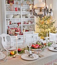 CHRiSTMAS : Swedish Christmas Tablescape. Love the red and white decor ,the gingerbread cookies and house, and the Swedish gnome dolls. Simple, but elegant.