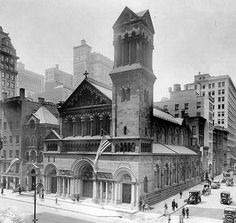 Jeffrey Tarlo‎Old Images of New York Group 1 hr ·  St. Bartholomew's Church at 346 Madison Avenue at East 44th Street in Manhattan, New York City, was designed by James Renwick Jr. in the Lombardic style and was built from 1872-1876. It featured a portal by Stanford White inspired by the abbey of Saint-Gilles-du-Gard in Provence which commemorated Cornelius Vanderbilt, whose son, William H. Vanderbilt, sold the site to the church. This view is from c.1918. some parts were salvaged when the…