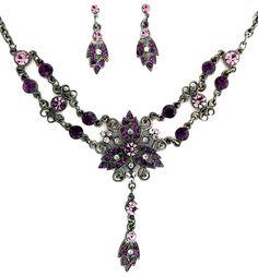 Estilo de Swarovski collar de cristal Amethyst púrpura Victorian