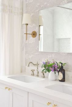 small master bathroom remodel full reveal, vintage inspired white bathroom, light and airy, bathroom remodel budget breakdown, bathroom interior design | visual comfort bryant sconce, cb2 infinity mirror, target shower curtain, rejuvenation drawer door knobs |  #smallbath #bathroomdesign #bathroom Diy Bathroom Vanity, Bathroom Plans, White Bathroom, Master Bathroom, Bathroom Ideas, Bathroom Inspo, Washroom, Bathroom Sconces, Ikea Bathroom