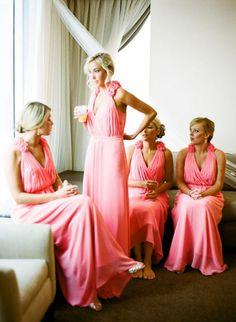 V Neck Chiffon Long Bridesmaid Dresses 2015 Brides Maid Dress With Handmade Flowers