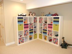 Organization for toys in playroom