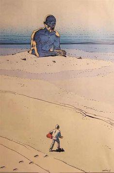 Moebius' (Jean Giraud) pinup of Major Grubert that appeared in Metal Hurlant Jean Giraud, Science Fiction, Art And Illustration, Moebius Art, Serpieri, Comic Kunst, Ligne Claire, Chef D Oeuvre, Sci Fi Art