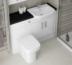 White Gloss Fitted Furniture - Matching white sanitaryware completes the look perfectly! Diy Bathroom Reno, Bathroom Renos, Small Bathroom, Bathroom Ideas, Bathroom Remodelling, Fitted Bathroom Furniture, Modern Furniture, Home Furniture, British Home