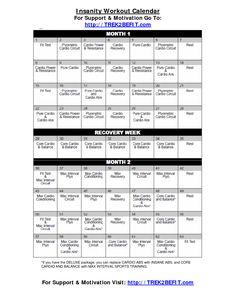 Insanity Workout Calendar