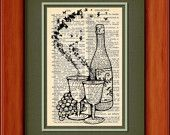 """Dictionary Art Print - Butterfly Wine - 6 3/4"""" x 9 3/4"""" - Art Print on Upcycled Dictionary Page"""