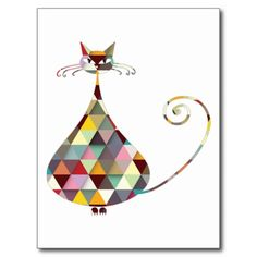 COLORFUL  CAT POSTCARD