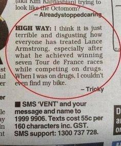 OMG   @Kylie Knapp Jacobsen                Funny Lance Armstrong Drugs Letter bahahahahahahaha