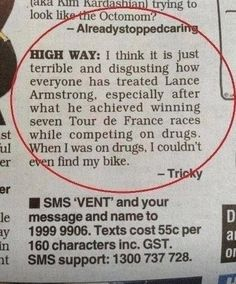 Funny Lance Armstrong Drugs Letter