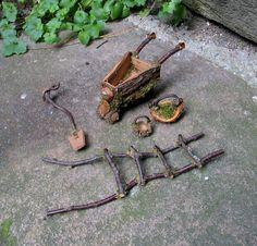 Gardening tools for a fairy garden.