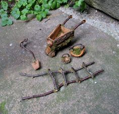 Gardening tools for a fairy garden made from natural materials.