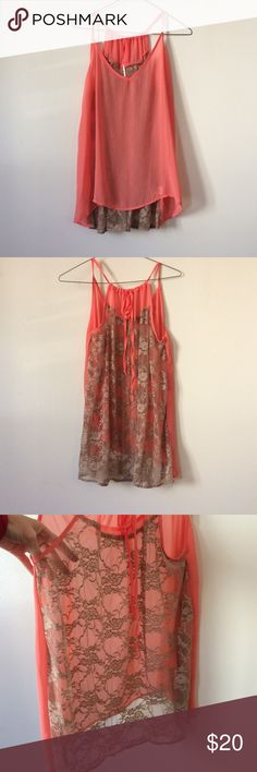 Sheer flowy tank with lace back, coral & tan **Please note**: Size large but was altered to be more of a small/medium. The style makes it work for a variety of shapes and sizes. The front and back are sheer. Pitaya Tops Tank Tops