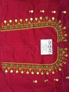 Saree Tassels Designs, Half Saree Designs, Blouse Neck Designs, Simple Embroidery Designs, Simple Blouse Designs, Bridal Blouse Designs, Magam Work Blouses, Maggam Work Designs, Sarees