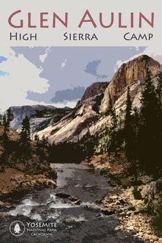 "Glen Aulin Yosemite High Sierra Camp Poster 12 x 18"""
