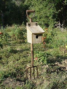 Potato Pitchfork Birdhouse, Rustic Decor For Your Garden Landscape. Love these things!!