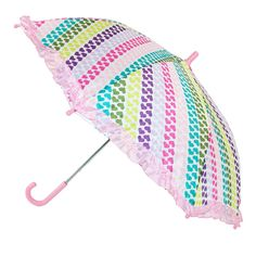 This ruffled heart print umbrella is an adorable option to keep your child protected from the rain. The lightweight body and pinch-proof runner makes it easy for your child to open and close it on their own.