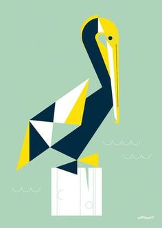 'Chirp & Squeak Pelican' by Eleanor Grosch Painting Print on Canvas